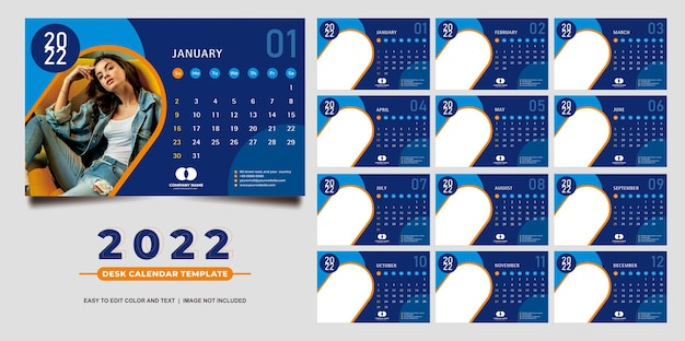 Tischkalender 2022 vorlage mit blauem design