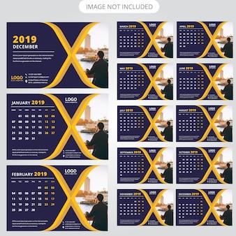 Tischkalender-schablone 2019