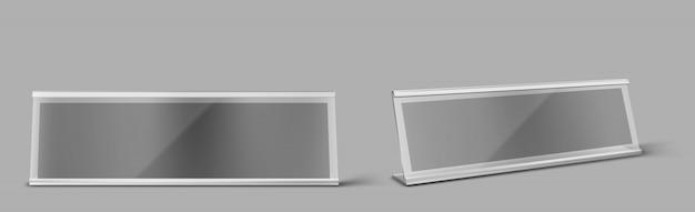 Tischkartenhalter aus metall, leeres typenschild