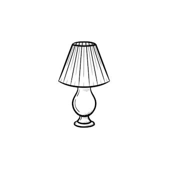 Tischlampe handgezeichnete umriss doodle-symbol. ein stück innenraum - tischlampenvektorskizzenillustration für druck, netz, mobile und infografiken lokalisiert auf weißem hintergrund.