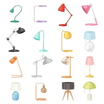 Tischlampe schreibtischlampe und leselampe für elektrische beleuchtung dekoration in büro oder hotel illustration satz von elektrischen ausrüstung mit glühbirne auf weißem hintergrund