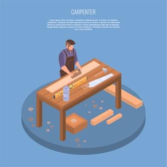 Tischler konzept hintergrund. isometrische illustration des tischlervektorkonzepthintergrundes für webdesign