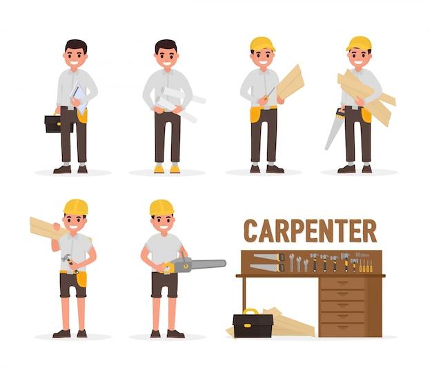 Tischler-, tischler-, vorarbeiter-, ingenieur- und holzarbeiterelemente