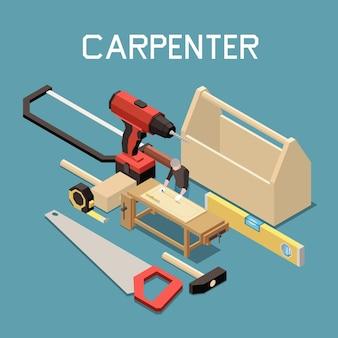 Tischlerei möbelherstellung werkzeuge isometrische zusammensetzung mit sägehammer wasserwaage elektrische bohrer maßband