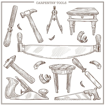 Tischlerwerkzeugskizzenikonen stellten für möbelreparatur und tischlerholzarbeit ein