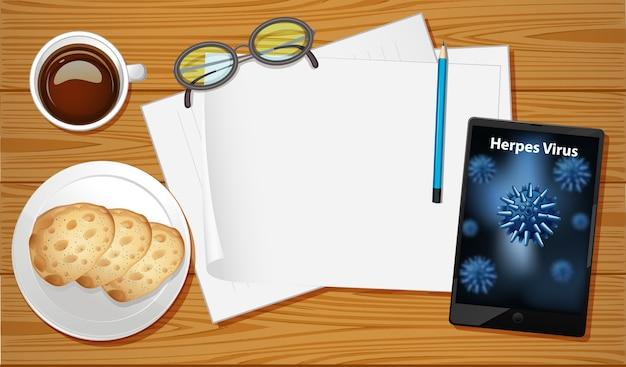 Tischluftansicht mit mobilem bildschirm