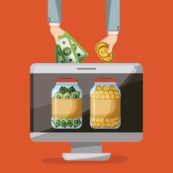 Tischrechner mit einsparungensflasche münzen