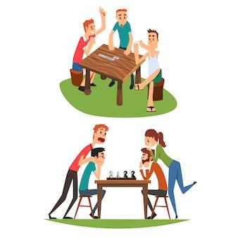 Tischspielset, freunde spielen domino und schach, eine gruppe von freunden, um zeit miteinander zu verbringen illustration