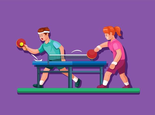 Tischtennis alias ping pong sport mit jungen- und mädchenathleten, die illustrationskarikaturvektor spielen