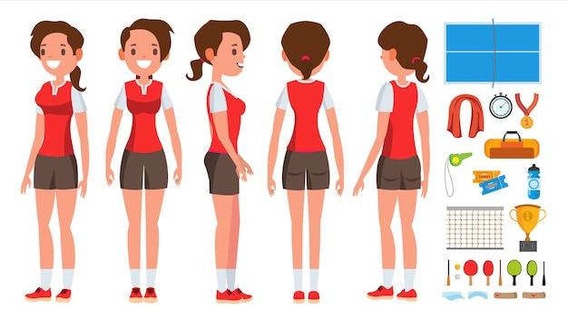 Tischtennis-mädchen-spieler-weiblicher zeichensatz
