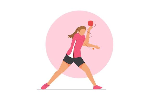 Tischtennis-spieler-vektor-illustration Premium Vektoren