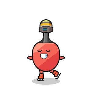 Tischtennisschläger-cartoon als eislaufspieler, der aufführt, niedliches design für t-shirt, aufkleber, logo-element