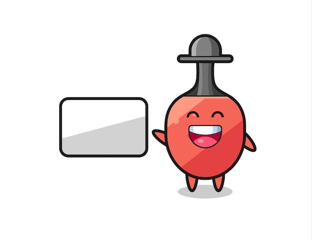Tischtennisschläger-cartoon-illustration, die eine präsentation macht, niedliches design für t-shirt, aufkleber, logo-element