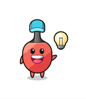 Tischtennisschläger-charakterkarikatur, die die idee bekommt, niedliches design für t-shirt, aufkleber, logo-element