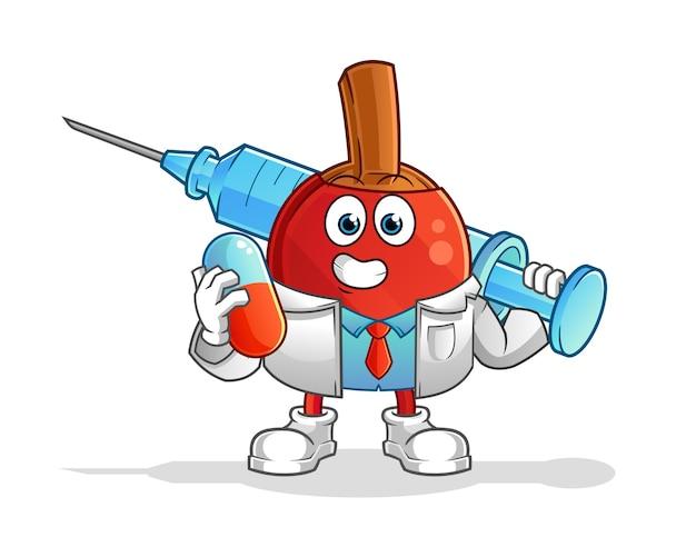 Tischtennisschlägerarzt hält medichine und injektionsvektor. zeichentrickfigur