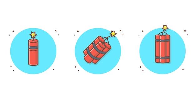 Tnt vektor icon illustration. bomben-ikonen-konzept-weiß lokalisiert