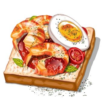 Toast mit garnelen-kirschtomaten und gekochten eiern draufsicht
