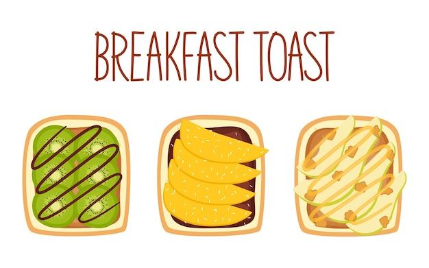 Toast mit kiwi-mango und kokos-birne und walnuss vektor-illustration