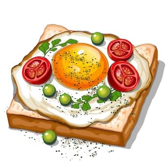 Toast mit spiegeleiern kirschtomaten draufsicht