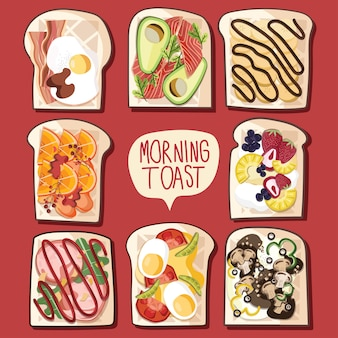 Toastbrot sandwich backen frühstück mittagessen avocado lachs speck banane orange erdbeer schinken pilz küche