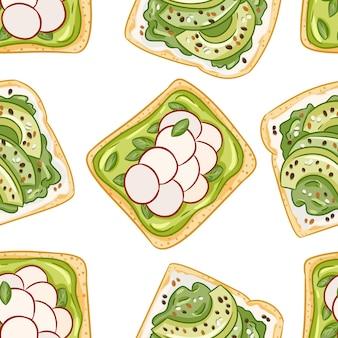 Toastbrot sandwiches comic-stil nahtlose grenzmuster. sandwiches mit avocado und rettich und gesunde grüne tapete. frühstück essen hintergrund textur fliese