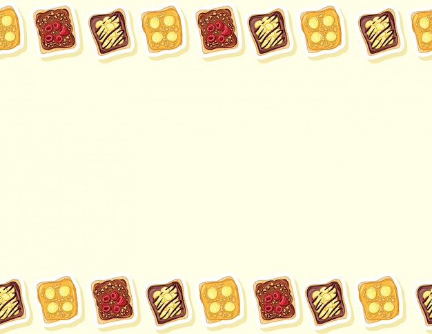 Toastbrot sandwiches comic-stil nahtloses muster. sandwich mit schokoladen- oder erdnussbutter und bananenkritzeleien. frühstück. buchstabenformat dekoration hintergrund textur fliese. platz für text
