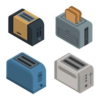 Toaster-icon-set. isometrischer satz toastervektorikonen für das webdesign lokalisiert auf weißem hintergrund