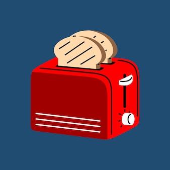 Toaster mit flacher vektorillustration des brotes