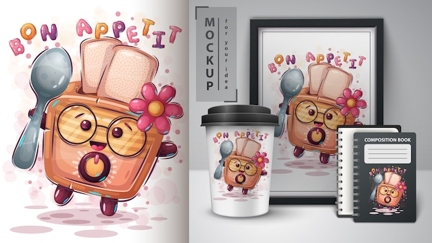 Toaster mit löffelplakat und merchandising