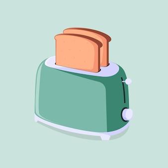 Toastervektor mit zwei stöcken brotgrünhintergrund