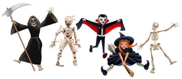 Tod mit sense, mumie, dracula-vampir, hexe auf besenstiel und skelett. set charaktere halloween party. isoliert auf weißer karikaturillustration