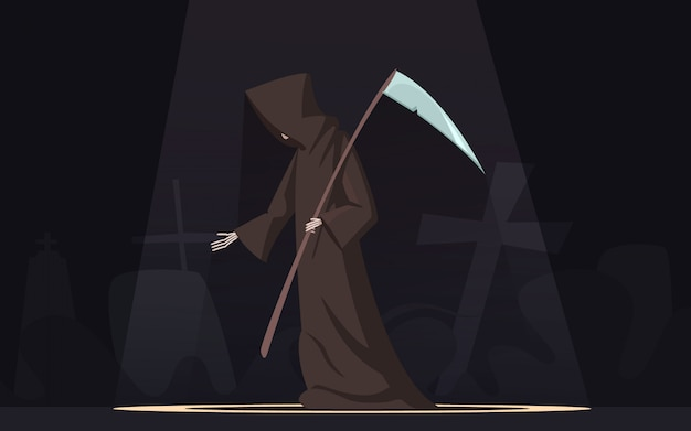 Tod mit traditioneller schwarz-mit kapuze sensenmannsfigur der sense in dunkelem hintergrund des scheinwerfers