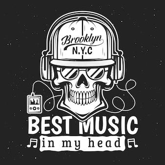 Tod t-shirt druck, schädel musik hören