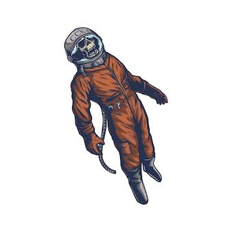 Todesastronaut auf weltraumillustration premium-vektor im vintage-handgezeichneten stil