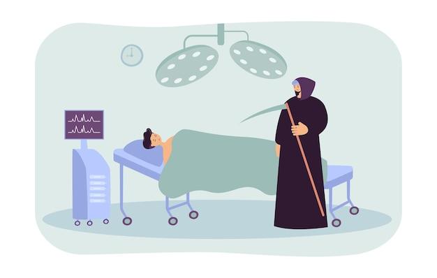 Todesfigur, die für sterbenden mann im krankenhaus kommt. cartoon-patient im bett liegend, männliche figur im schwarzen mantel mit flacher illustration der sense