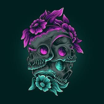 Todesschädel-blumen-bunte illustration