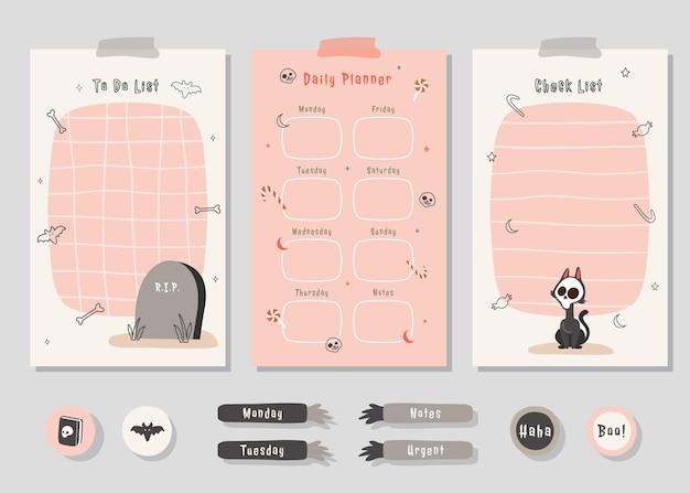Todo-listen-planer-set mit niedlicher illustrations-halloween-themengrafik für journaling und aufkleber