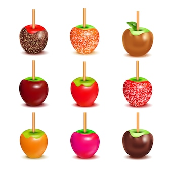 Toffee-süßigkeits-äpfel-zusammenstellungs-satz