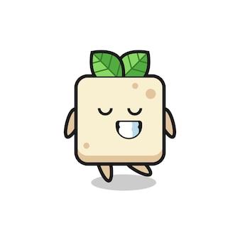 Tofu-cartoon-illustration mit schüchternem ausdruck, süßem stildesign für t-shirt, aufkleber, logo-element