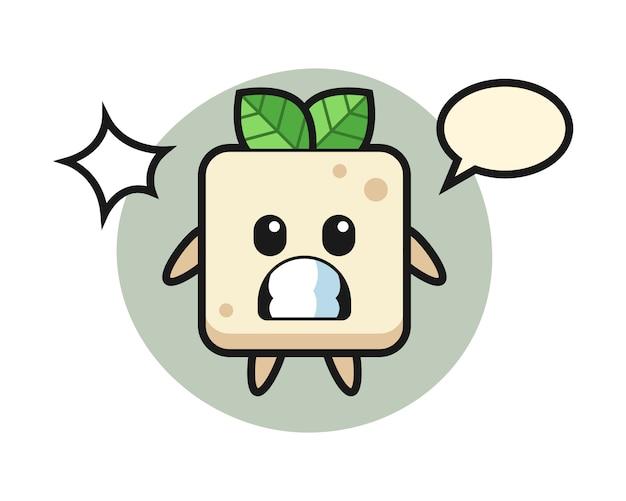 Tofu-charakter-karikatur mit schockierter geste, niedlicher stilentwurf für t-shirt