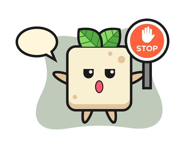 Tofu-charakterillustration, die ein stoppschild hält, niedliche artentwurf für t-shirt
