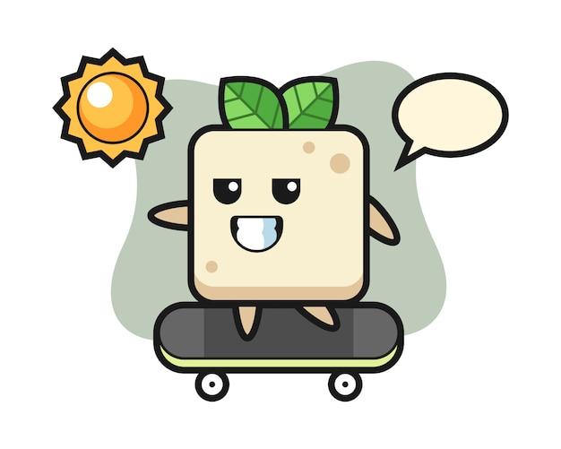 Tofu-charakterillustration reiten ein skateboard, niedliches artdesign für t-shirt