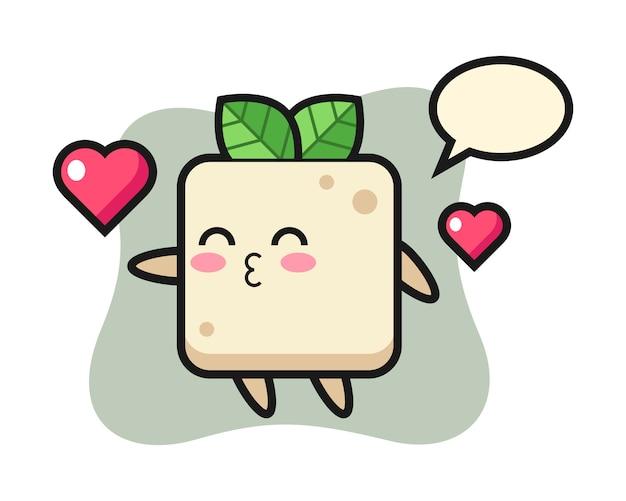 Tofu-charakterkarikatur mit küssender geste, niedlicher stilentwurf für t-shirt