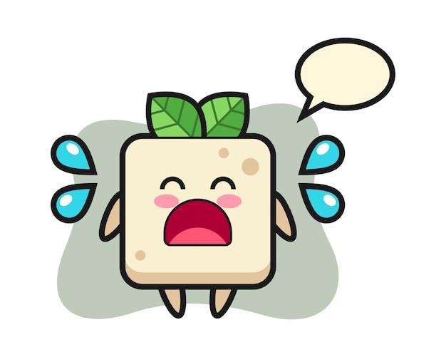 Tofu-karikaturillustration mit weinender geste, niedlicher stilentwurf für t-shirt
