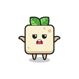 Tofu-maskottchen-charakter, der sagt, ich weiß es nicht, süßes stildesign für t-shirt, aufkleber, logo-element
