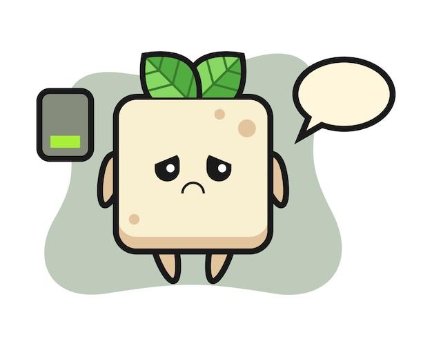 Tofu-maskottchencharakter, der eine müde geste, niedlichen stilentwurf für t-shirt tut