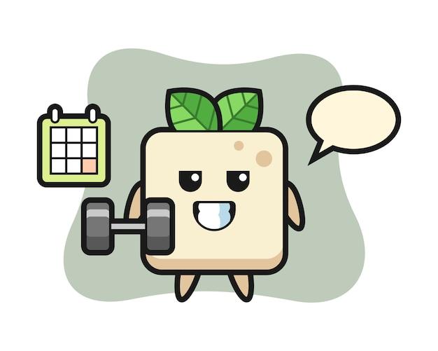Tofu-maskottchenkarikatur, die fitness mit hantel tut, niedliches artdesign für t-shirt