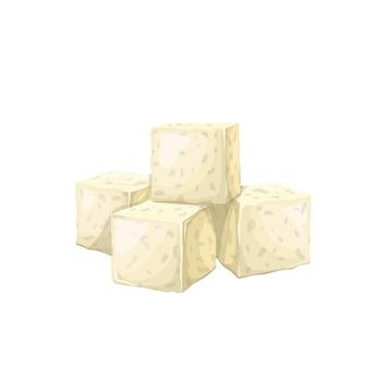Tofu quadratische scheibe.