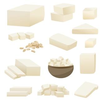 Tofu-vektorsammlung in der quadratischen scheibe in der schale und in der sojabohnenölbohne.