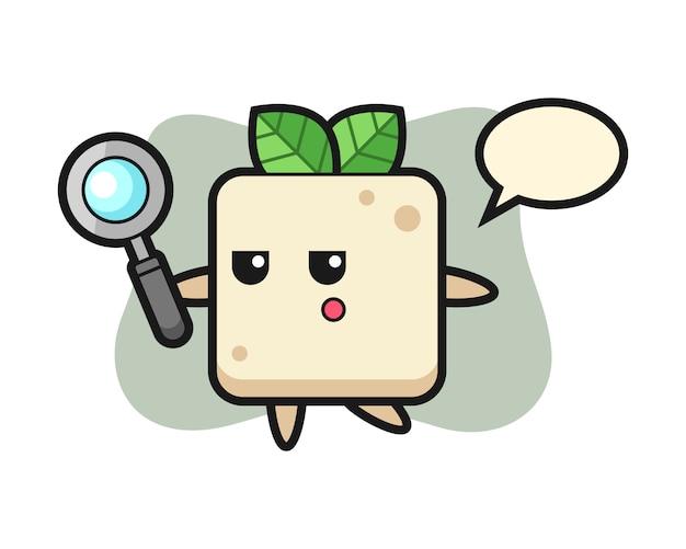 Tofu-zeichentrickfigur, die mit einer lupe sucht, niedlicher stilentwurf für t-shirt